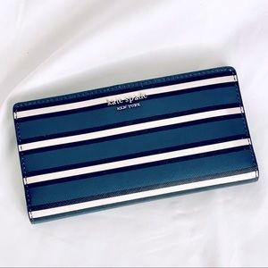 Kate Spade Black/Blue/White Striped Stacy Wallet